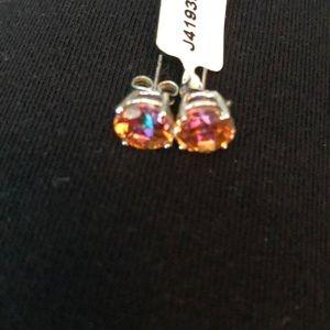 Brand new orange gem stud earrings
